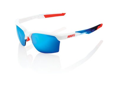 100% Sportcoupe - Polished White / Geo Pattern - HiPER Blue Mirror Lens
