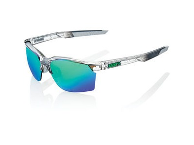 100% Sportcoupe - Polished Translucent Crystal Grey - Green Mirror Lens