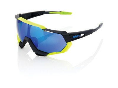 100% Speedtrap - Polished Black/Matte Neon Yellow - Electric Blue Mirror