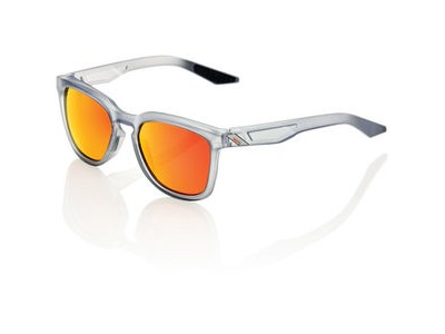 100% Hudson - Soft Tact Translucent Crystal Grey - HiPER Red Mirror Lens