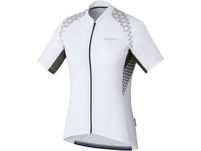 SHIMANO Women's, W's Escape Print Short Sleeve Jersey, White
