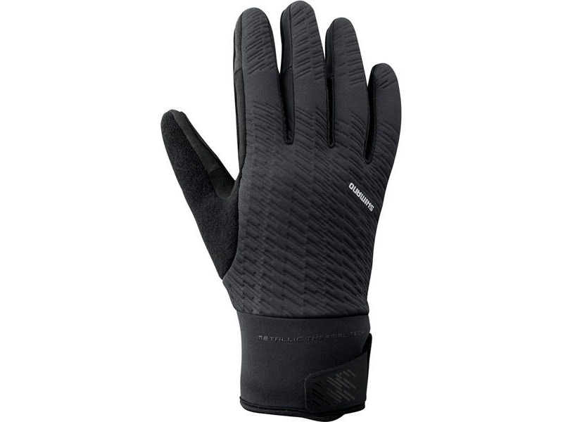 SHIMANO Unisex Windbreak Thermal Reflective Gloves, Black click to zoom image