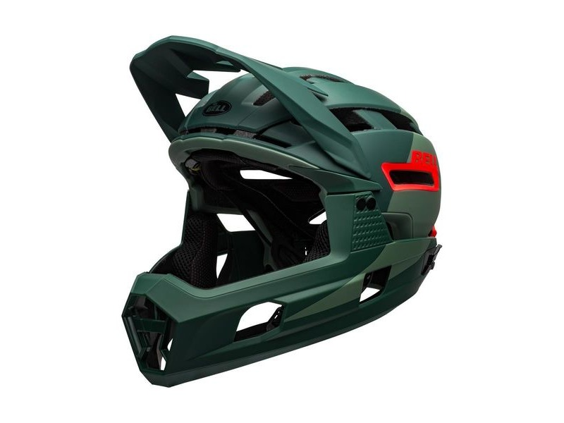 Bell Super Air R Mips MTB Full Face Helmet Matte/Gloss Green/Infrared click to zoom image