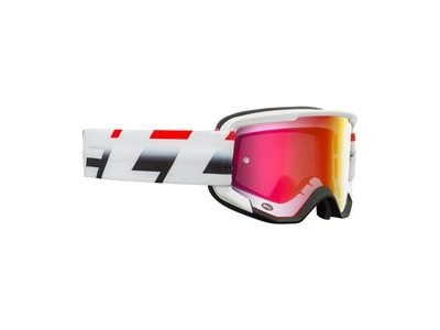 Bell Descender MTB Goggles (Mirrored Lens) 2020: Victory Matte White/Red/Black - Revo Red Adult