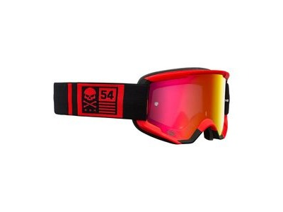 Bell Descender MTB Goggles (Mirrored Lens) 2020: Crossbones Matte Red/Black - Revo Red Mi Adult
